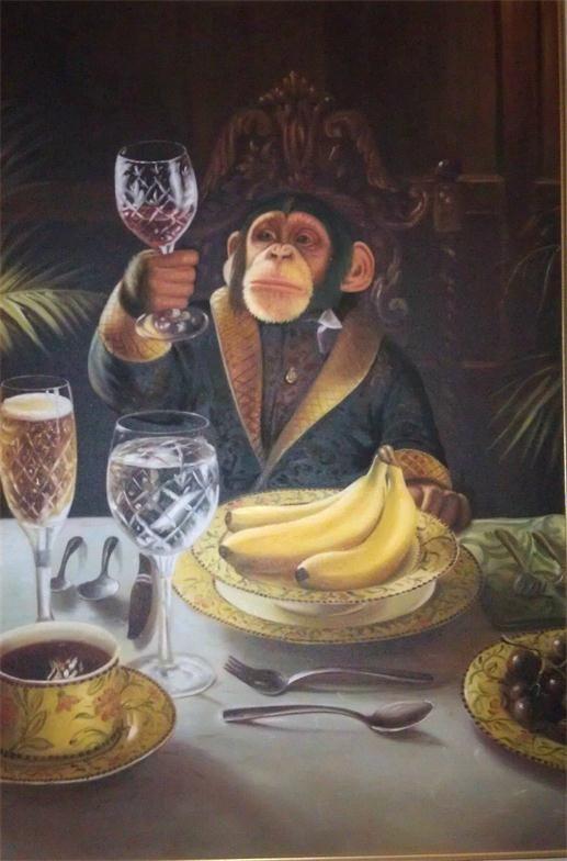 Monos enmarcadas beber café y el vino pintado a mano del arte de la decoración de la pared de animales abstracto Pintura En Multi lienzo Tamaños disponibles FK25 #