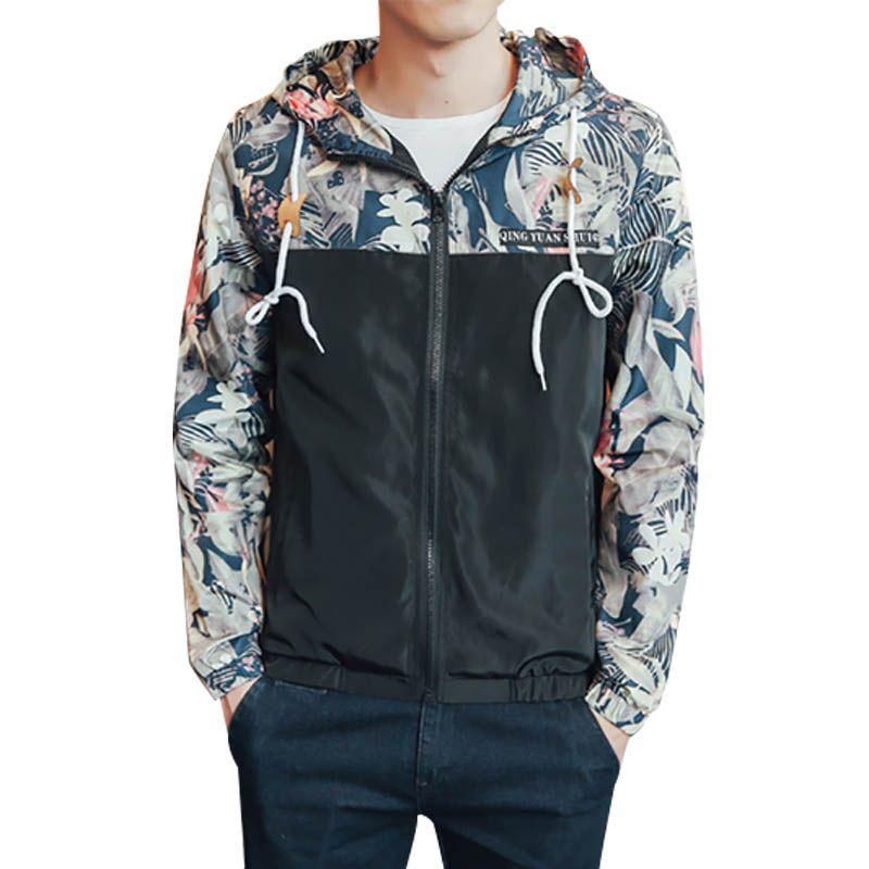 Sonbahar Çiçek Bombacı Kapşonlu Ceket Erkekler Hip Hop Slim Fit Çiçekler Pilot Bombacı Erkek Ceket Ceket erkek Ceketler Casaco Artı Boyutu 4XL
