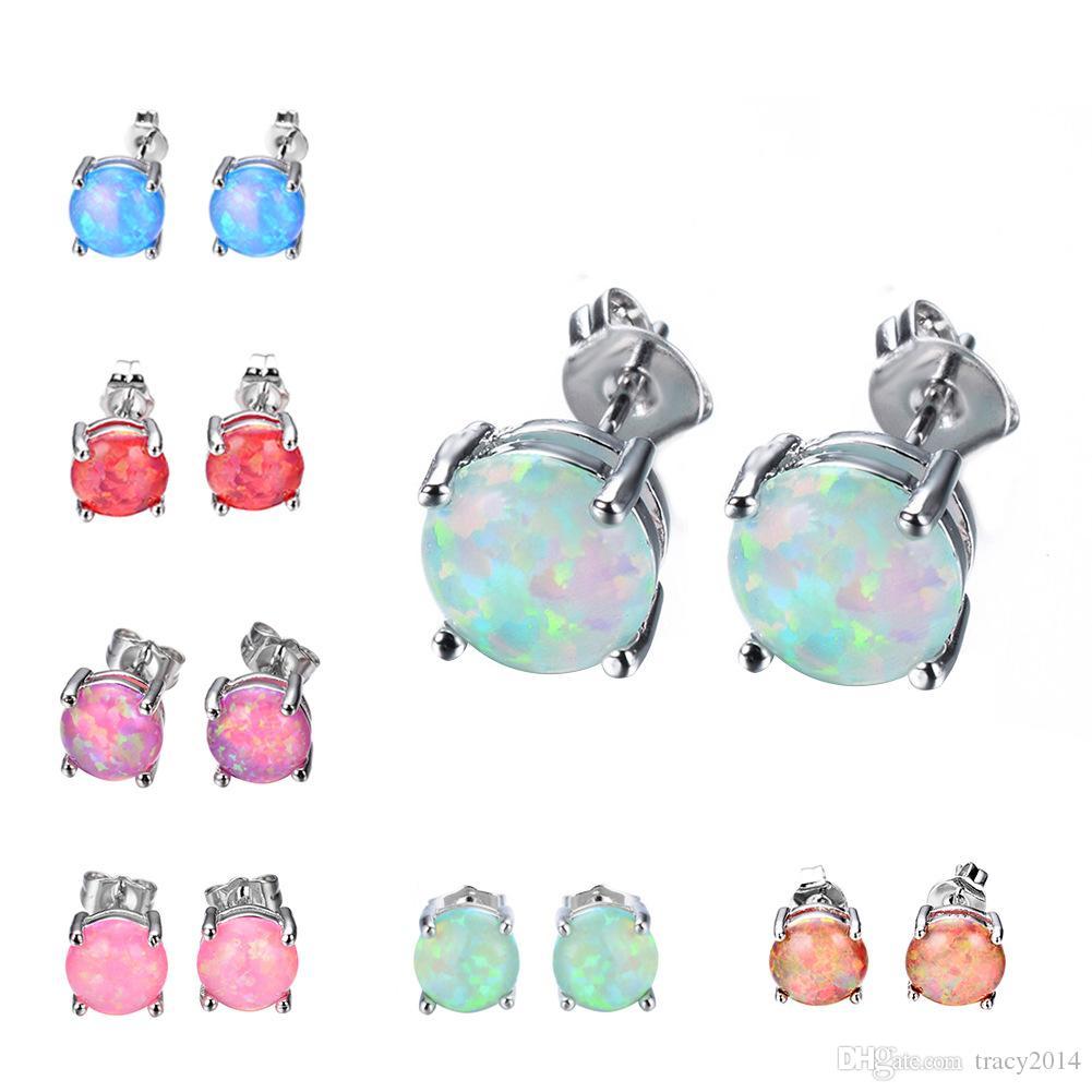 8 мм Огненный опал серьги для женщин Девушки натуральный камень стерлингового серебра 925 серьги мода красочные серьги для подарка