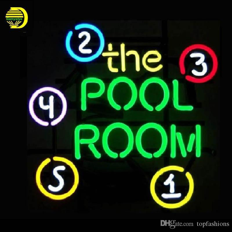 THE POOL ROOM Neon Light Sign Home Beer Bar Pub Recreation Room Game Lights Windows Glass Wall Signs Party Birthday Bedroom light Not LED