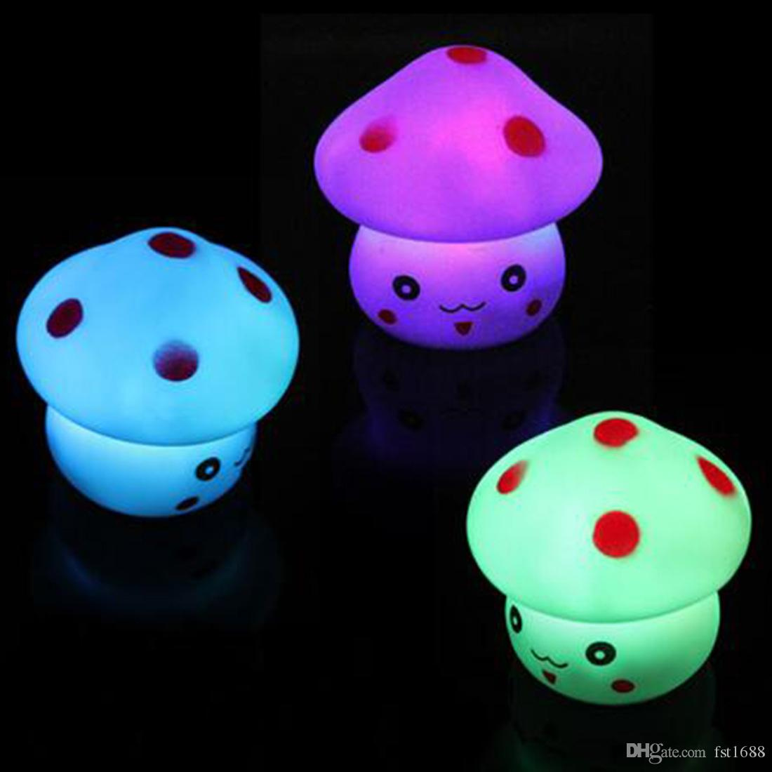 Creative Art New 1pc LED Night Light Colorful Mushroom Press Down Touch Room Desk Bedside Lamp for Baby Kids Christmas Gifts Interior Design