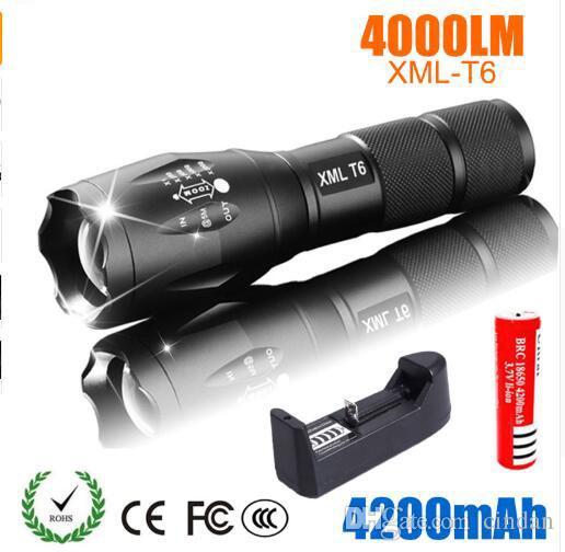 LED 충전식 손전등 포켓 XML T6 linterna 토치 4000 루멘 18650 배터리 야외 캠핑 강력한 주도 손전등