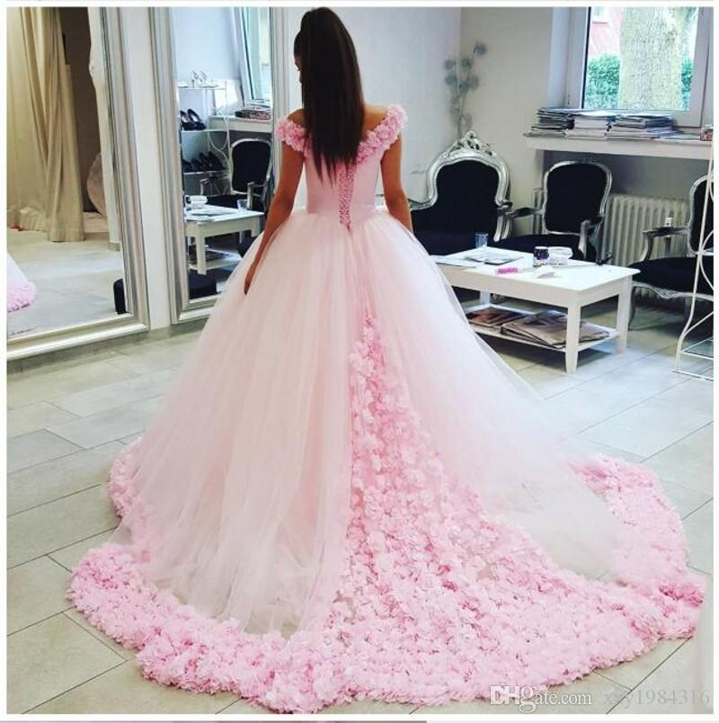 Pink Ball Gown Wedding Dresses Off Shoulder 3D Floral Appliques Bridal Gowns Lace Up Sweep Train Tulle Custom Made Wedding Gowns
