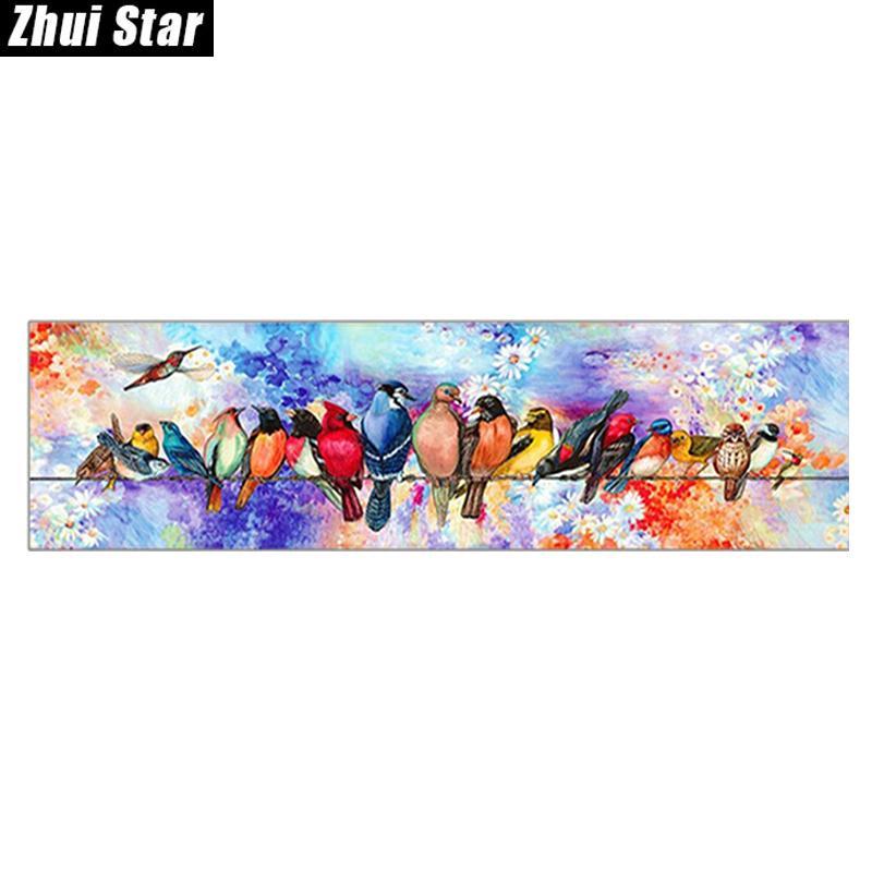 """Zhui star praça cheia broca 5d diy diamante pintura """"pássaros dos desenhos animados"""" 3d bordado set ponto cruz mosaico decoração presente vip y18102009"""