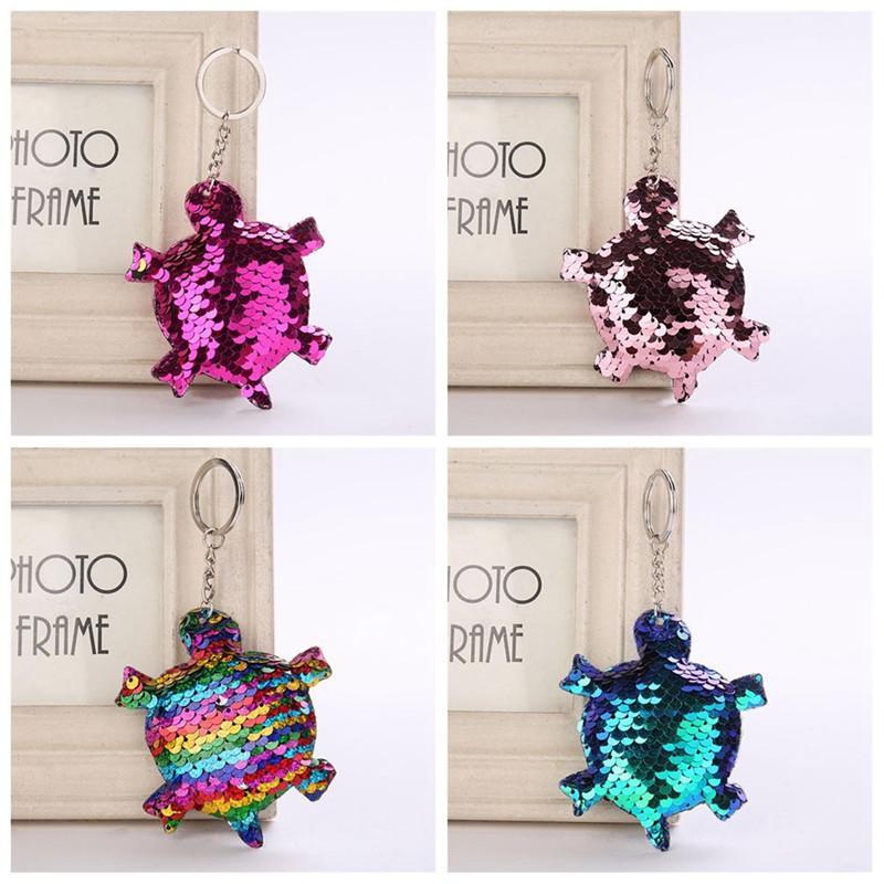 Fashion Glitter Sequins Cat Keychain Shiny Unicorn Horn Keychain Mermaid Animal Tortoise Key Chains For Women Bag Pendant Jewelry