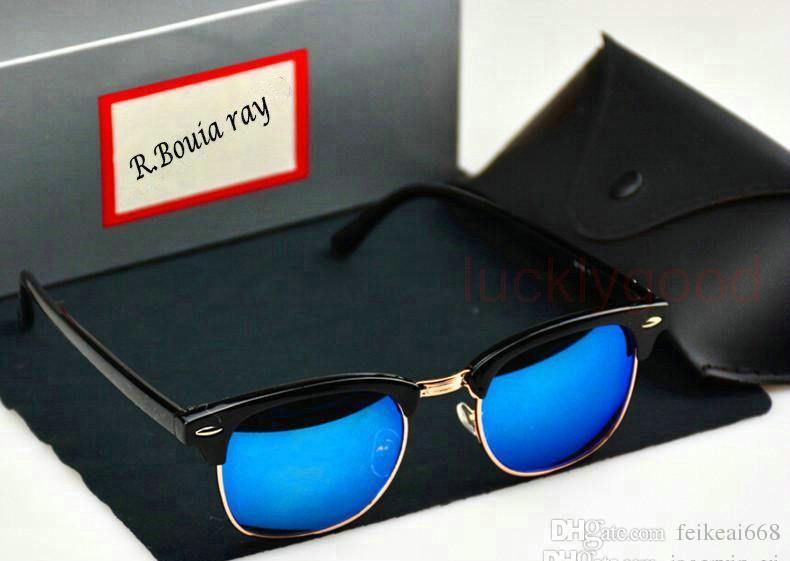 Klasik Yarım Metal Güneş Erkekler Bayanlar Marka Tasarımcısı Gözlük Ayna Güneş Gözlükleri Moda Gafas ulculos De Sol UV400 S1580 kılıfları ve kutusu ile