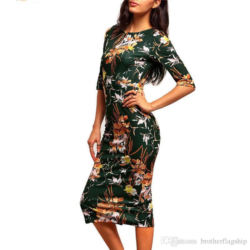Primavera verão escritório senhora estilo mulheres dress floral meia manga império bodycon vestidos elegantes midi sexy vestido formal