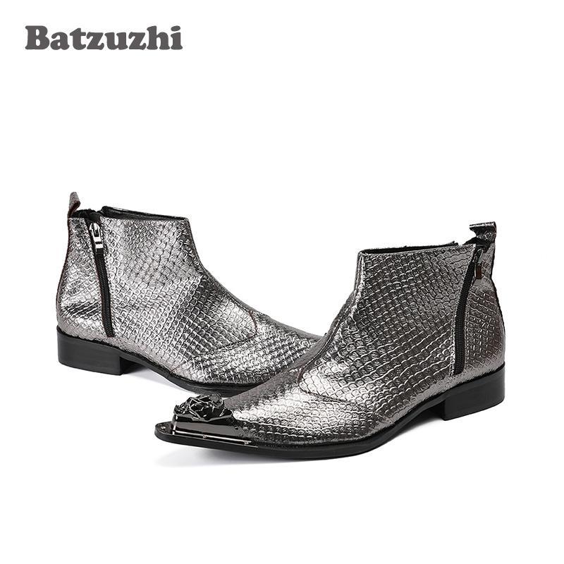 Stile giapponese fatti a mano stivali da uomo in metallo punta a punta in pelle grigia stivali da uomo caviglia wedding party botas hombre zapatos de hombre