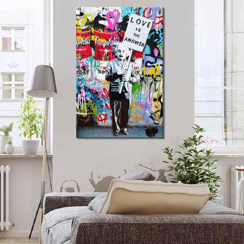 """Banksy Art """"Love Is The Answer"""" Handpainted & HD Print Graffiti Street Artwork Oil Painting On Canvas,Home Decoration Wall Art g297"""
