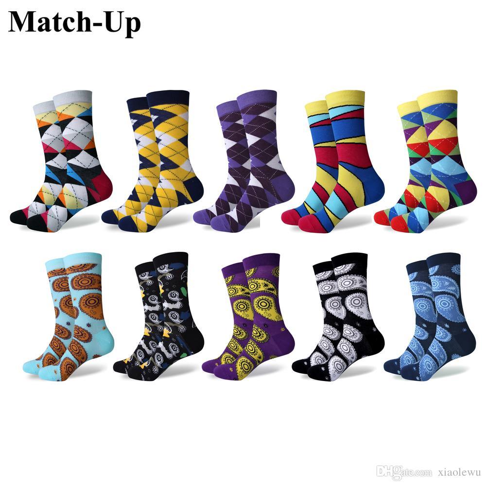 Match-Up erkekler Komik Rahat Penye Pamuk Yenilik Çılgın Çorap Paketi (10 Çift / grup)