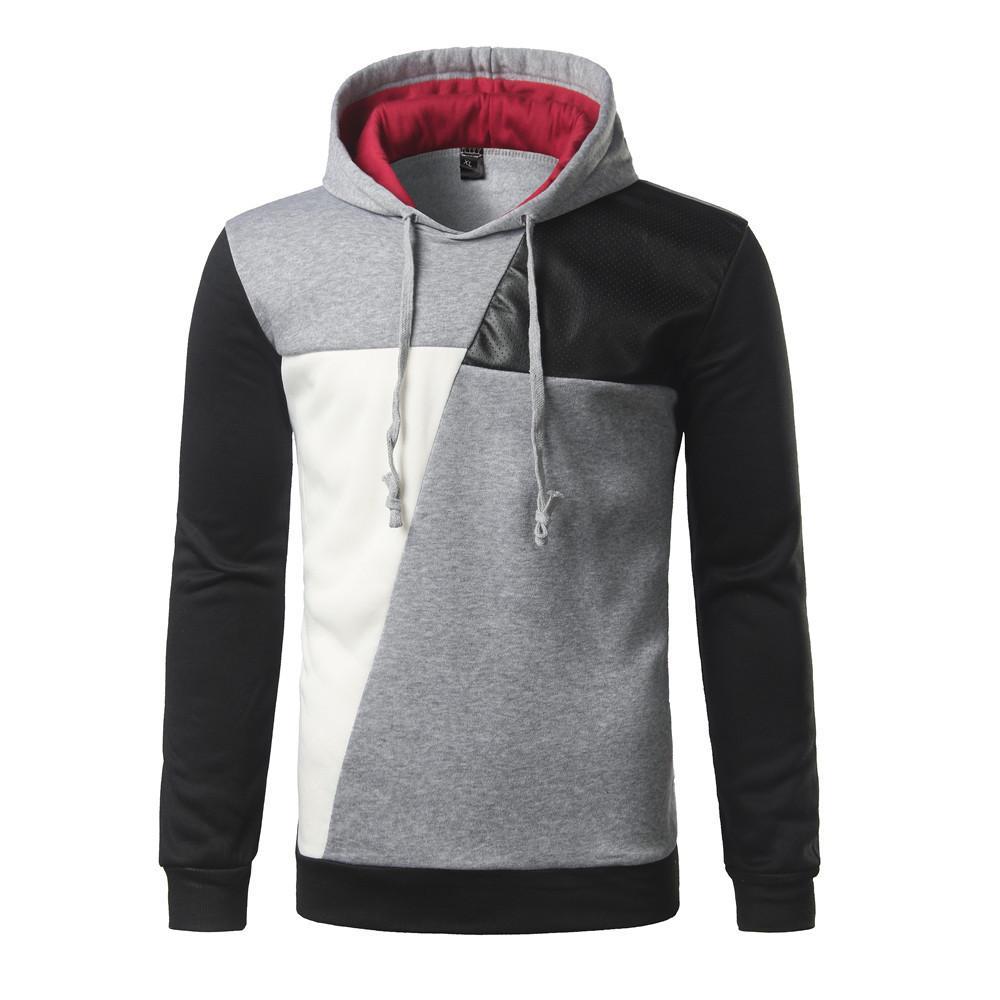 Brand 2018 Hoodie Hit Color Leather Casual Hoodies Men Fashion Tracksuit Male Sweatshirt Hoody Mens Purpose Tour Man Autumn Hoodies XXL