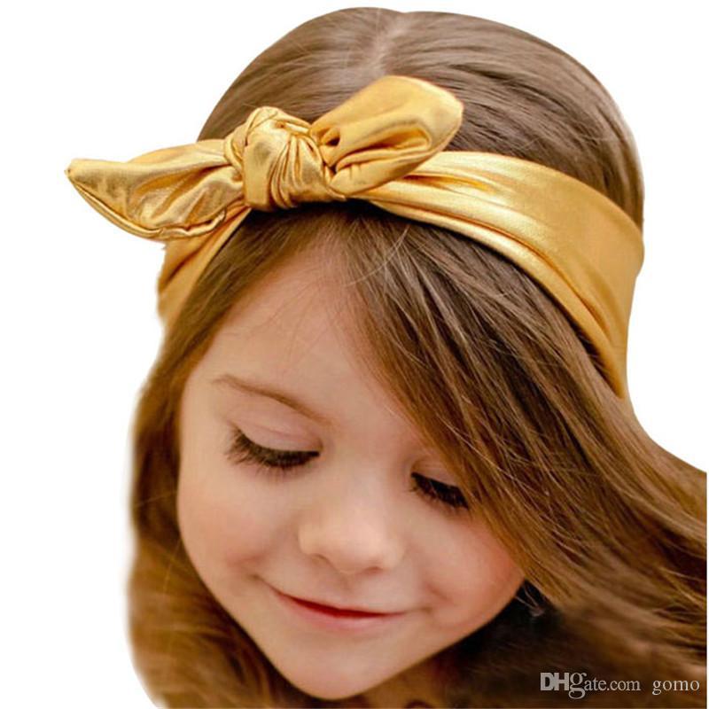 Moda Tavşan Tasarım Esnekliği Yıkama Altın Bebek Kız Bandı Saç Aksesuarı bebek kız aksesuarları set Şapkalar kafa bandı