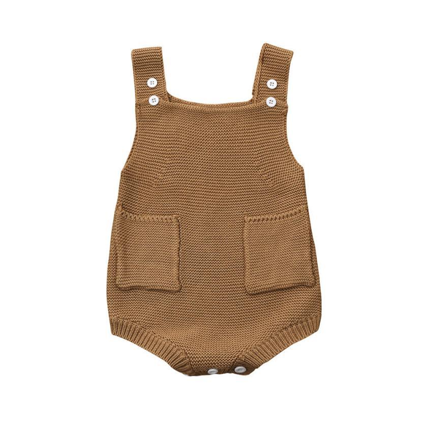Newborn Baby Girls Solid Heched Tronck Pocket Sumpsuit Ropa Romper Outfit D50