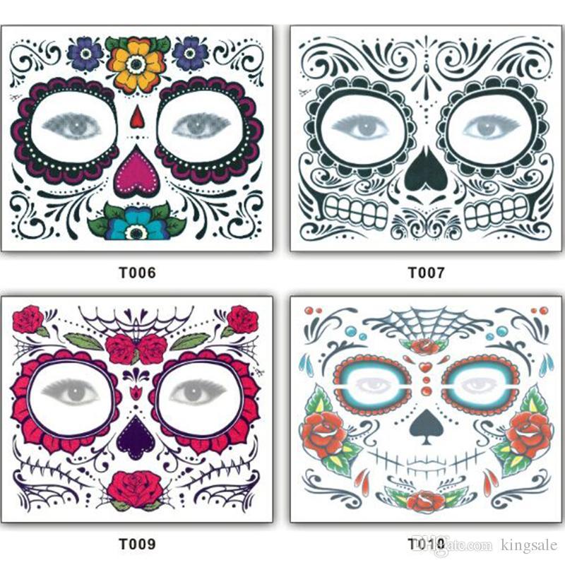 150mm * 125mm Festa de Natal Dia Facial Dos Mortos Enfrentados Tatuagem Halloween E Masquerade Bola Deve Muito Etiqueta Do Tatuagem À Prova D 'Água