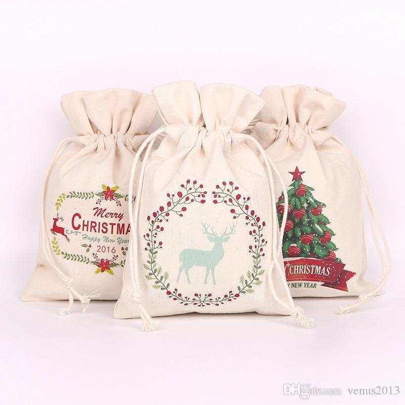 SACK Hot Xmas Claus Canvas Sacs Santa Noël Nouveau Cordon Santa Snowman Décorations de Noël Décorations de Noël Candy Cadeaux Cadeaux Sacs Jdunc Jdunc