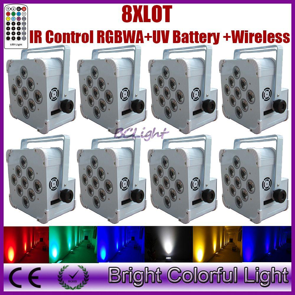 8PCS Wedding Backdrop Uplight Battery Powered Wireless DMX Infrared Remote Control 9*18W Battery wireless Flat led par up lights
