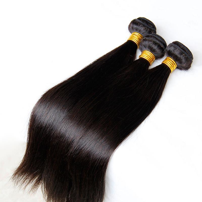 El pelo recto camboyano indio peruano malasio peruano de la Virgen teje los paquetes 3/4 PC Extensiones sin procesar del pelo humano de Remy trama doble