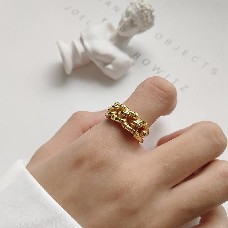 925 en argent sterling industrie vent ouvert anneaux mode or irrégulière torsion chaîne réglable anneaux pour femmes bijoux de qualité D1892005
