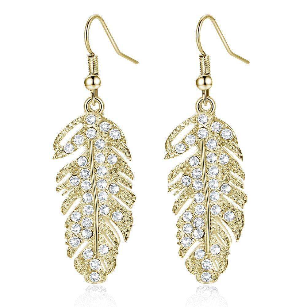 Trendy Feather Drop Earrings Designer Jewelry Bridal Luxury Drop Earrings Fashion Korean Feather Jewelry For Women Ladies Feather Earrings