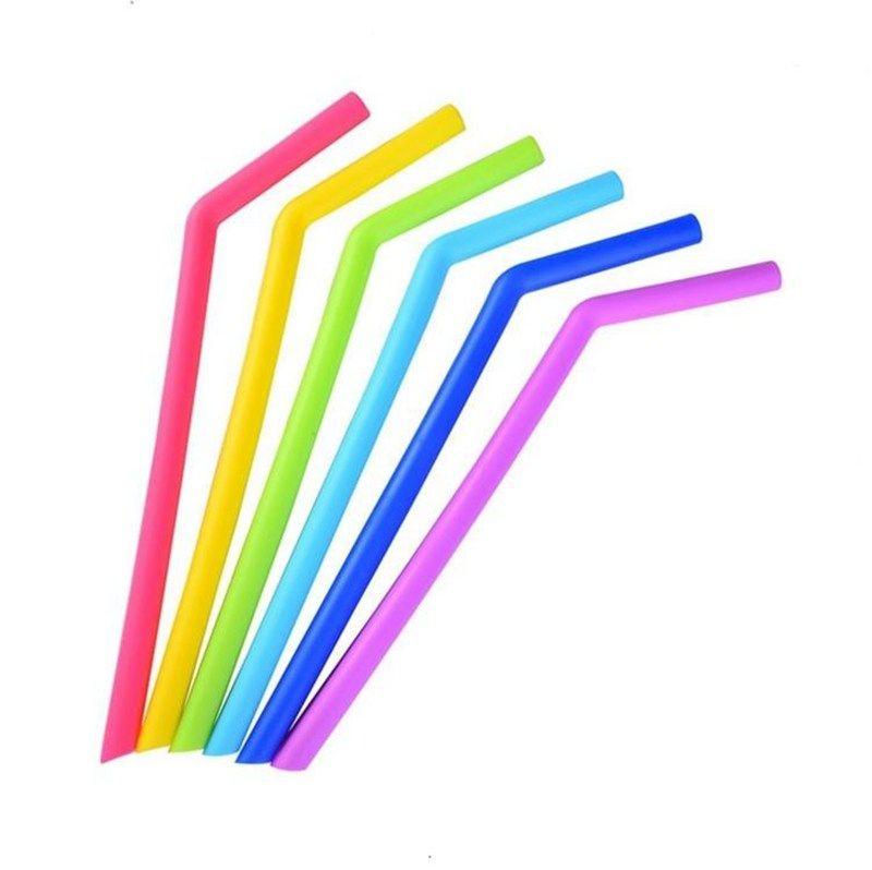 Красочные силиконовые соломинки для чашек пищевого качества 25см силиконовые изогнутые соломинки для бара домашней питьевой соломинки