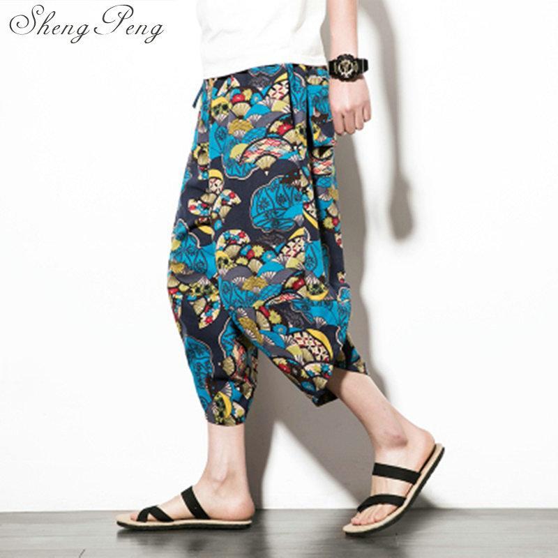 Großhandel Thailand Kleidung Oriental Herren Kleidung Vintage Sommer Männer Kurze Hosen Baumwolle Männlichen Leinen Hosen Für Reisen Strand Meer Kurze