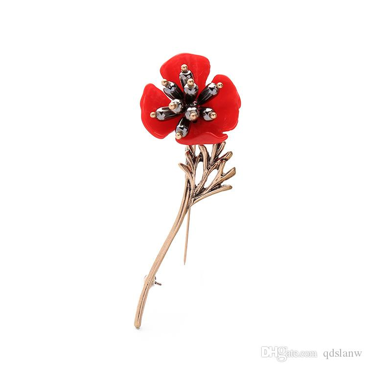 Slanw hot new style jewelry accessories European and American fashion jewelry wholesale vintage plum red flower pearl brooch female brooches