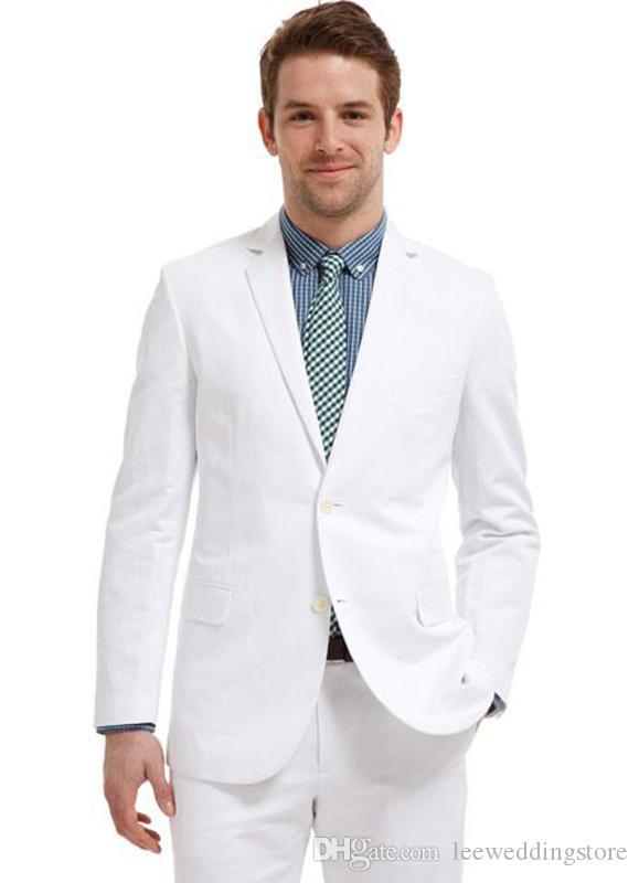 Spring Men Suits Handsome White Wedding Suits Best Man Slim Fit Casual Bridegroom Groom Prom Tuxedos Groomsmen Custom Made (Jacket+Pants)