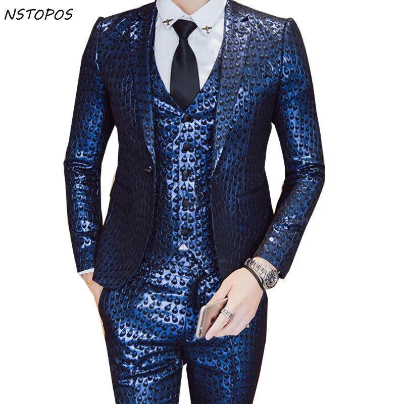 الفاخرة الباروك البدلة الذهب الأزرق سهرة سترات + سترة + بانت التدخين أوم زي خطاباتخطابهزوجات أوم حفل زفاف المرحلة الملابس 3xl