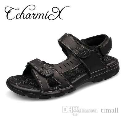 Adam Moda Açık Erkek Casual Ayakkabı için CcharmiX Büyük Beden 38-46 Gerçek Deri Erkekler Sandalet Yeni Yaz Yürüyüş Sandalet