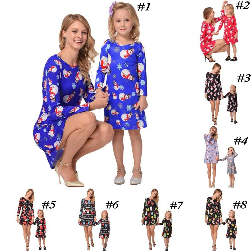 Family Matching Christmas Dress Outfits Mother And Daughter Christmas Dress Clothes Long Sleeve Mom And Me Xmas Santa Claus Dresses