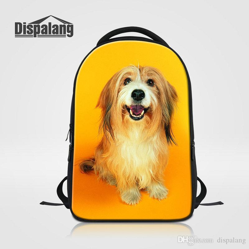 3D PUG PUG DOG DROPER PRINCIPANTE Mujeres Portátil Mochila Preppy Style Men Business Daily Daypacks Bolsas de la escuela de gran capacidad Mochila College Bookbag