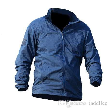 Summer thin Hooded Windbreaker Fast Dry Sun UV Protection Jacket Single Layer tactical men military army motorcycle