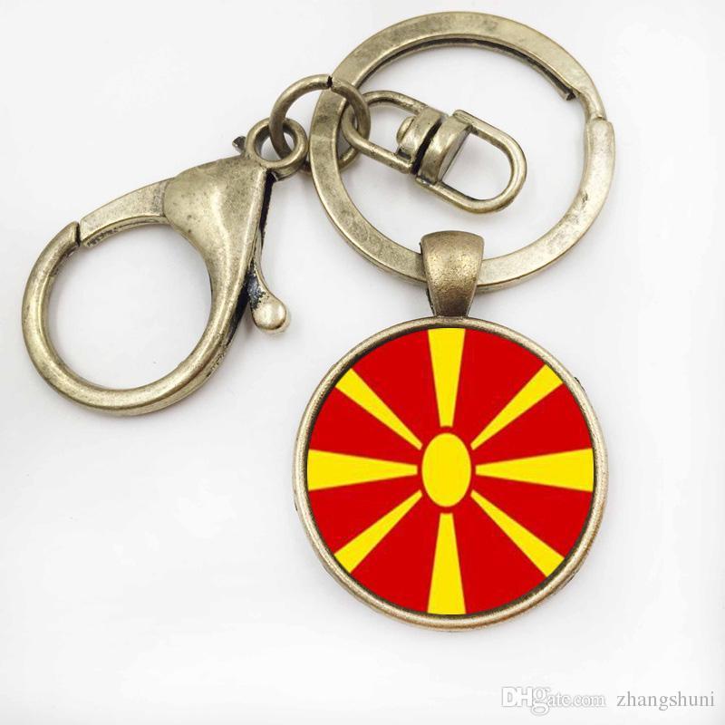 2017 Novo Estilo AmericaMacedonia Flag key Ring Rodada Cúpula De Vidro Arte Imagem Chaveiro Saco de Jóias Acessórios keychain