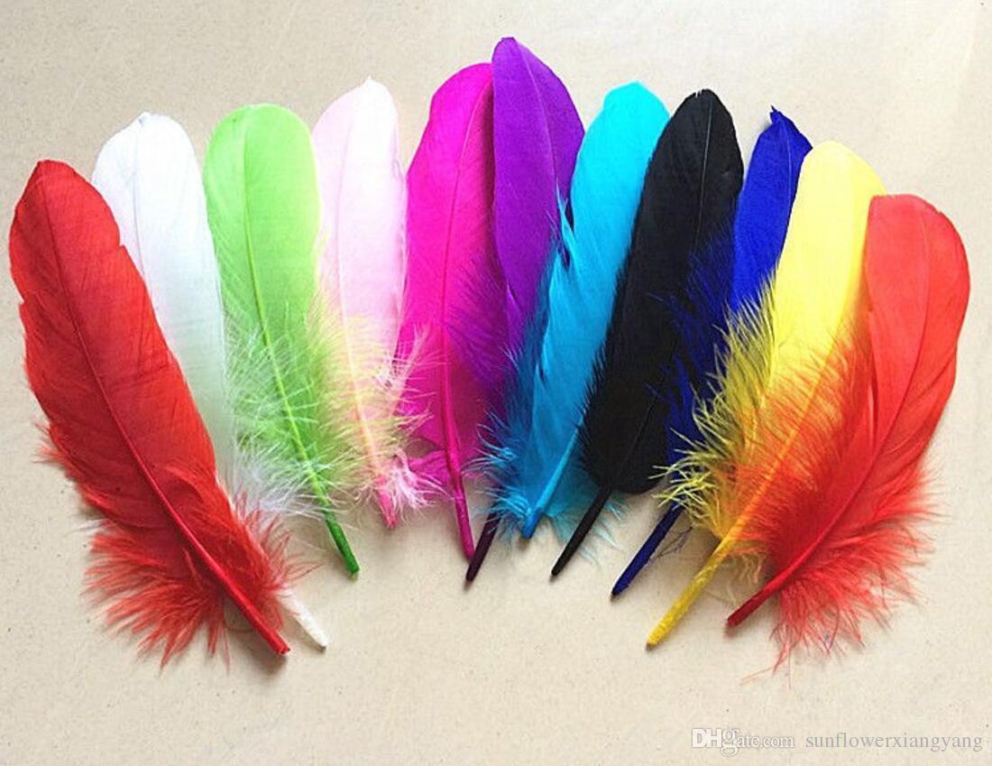100 pcs 15 cm Ganso Pena de Penas Cauda Penas Fan Para Craft Costura Vestuário Festa de Casamento Decoração de Casa