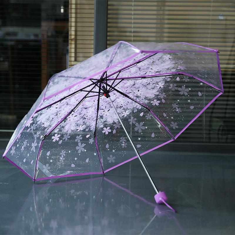 8k 3 fold sun rain umbrellas high quality rain tools woman flowers transparent umbrella for female and male