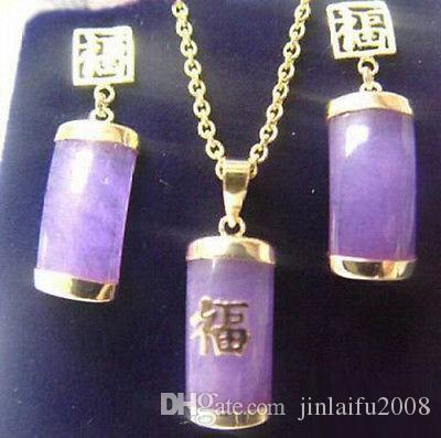 Oro Purple Jade Giallo Placcato Fortune Pendant Necklace orecchini set