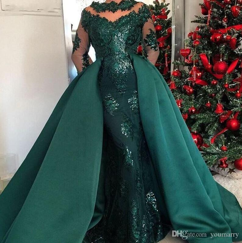 Custom Made Dark Green Long Sleeves Evening Dresses with Detachable Skirt 2019 Caftan Arabic Lace Applique Prom Dress Party Gowns