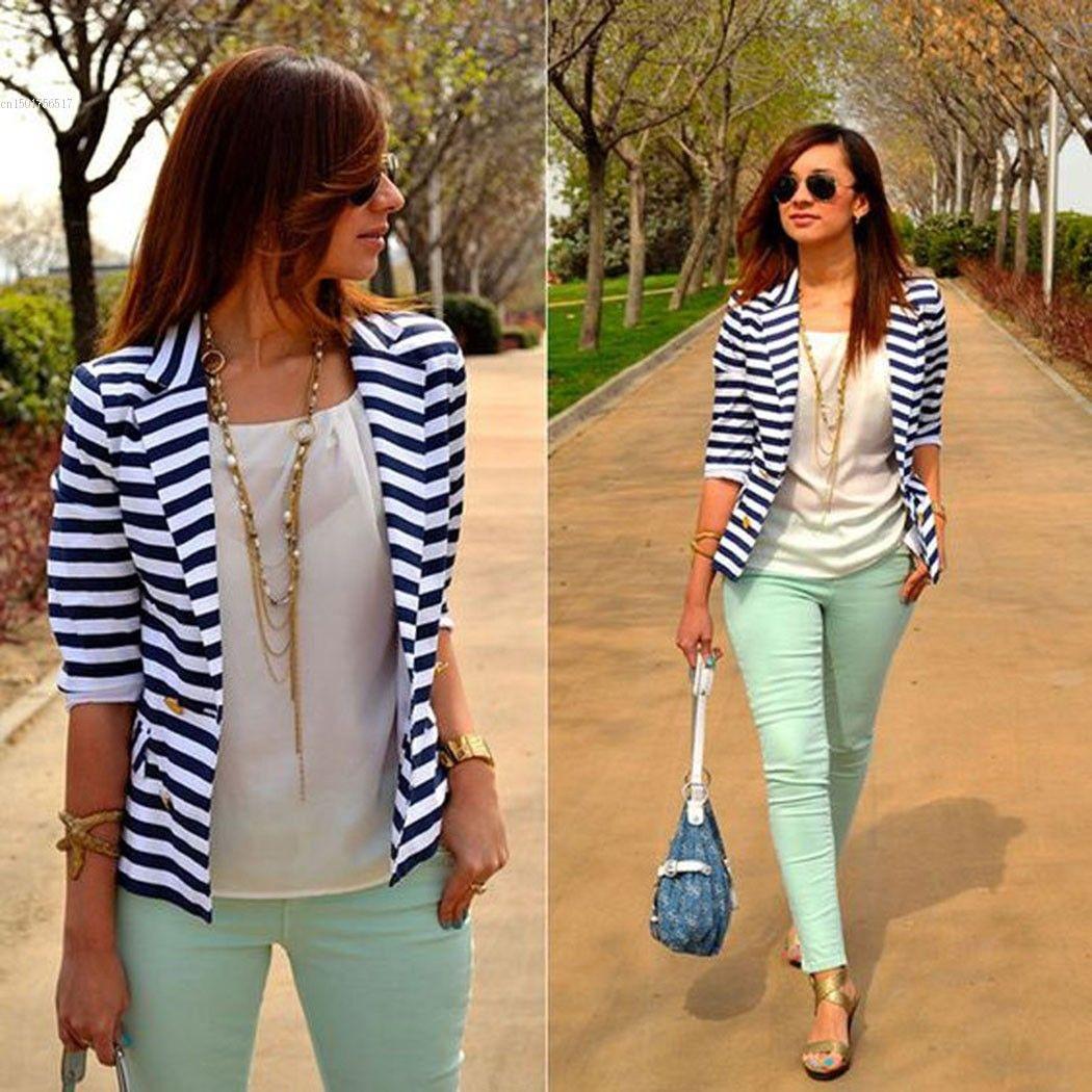 Bahar Kadın Ince Blazer Ceket 2018 Yeni Moda Rahat Ceket Uzun Kollu Bir Düğme Suit Bayanlar Blazers Iş Elbisesi L18101301
