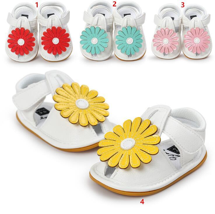 2017 лето новый полноценный новорожденных девочек солнце цветок сандалии прекрасный мода Принцесса малыша мягкой подошвой обувь Детские первые ходунки обувь