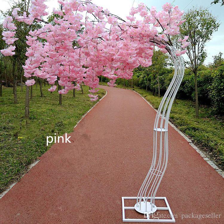 2.6M высота белый Искусственный Вишневый цвет дерева дорога ведет Свадебный Runner Aisle Колонка Торговые центры Открытые двери Украшение