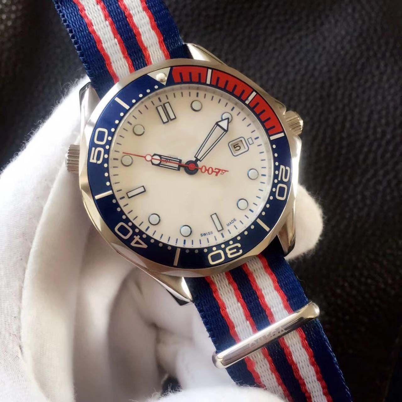 2018 Commander James Bond 007 White Dial Limited Edition Watch Mens Sprots Nylon Pasek 2813 Automatyczne zegarki męskie 41mm jakości
