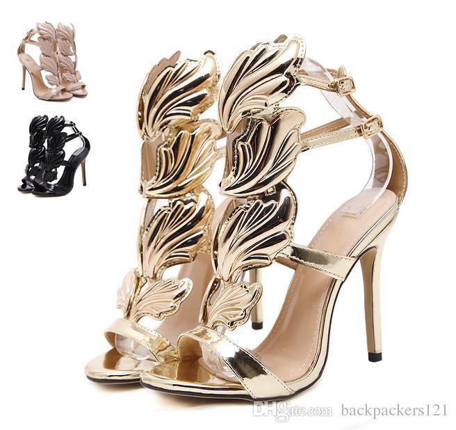 comprare on line 0c493 e846c Acquista Flame Metal Leaf Wing Sandali Con Tacco Alto Oro Nude ...