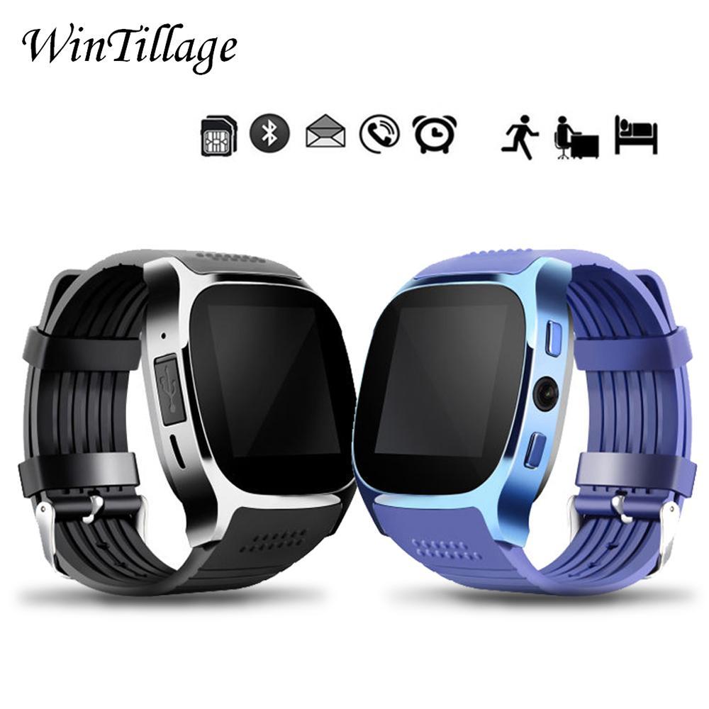 T8 Bluetooth Reloj inteligente con cámara Reproductor de música Facebook Whatsapp Soporte Tarjeta SIM TF Llamada Smartwatch para teléfono Android