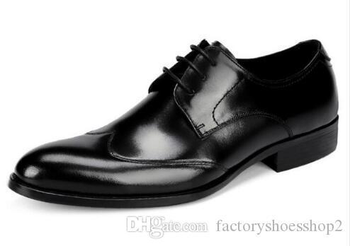 Top Quality Luxury Leather Mens Party Dress Shoes Black Wine Formal Business Scarpe uomo Moda uomo mocassini EU37-46