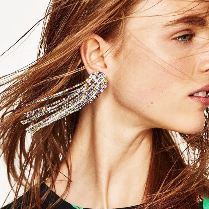 Orecchini con strass Versioni di orecchini lunghi eleganti di lusso stile lungo con nappa Orecchini lunghi da donna Vendita calda