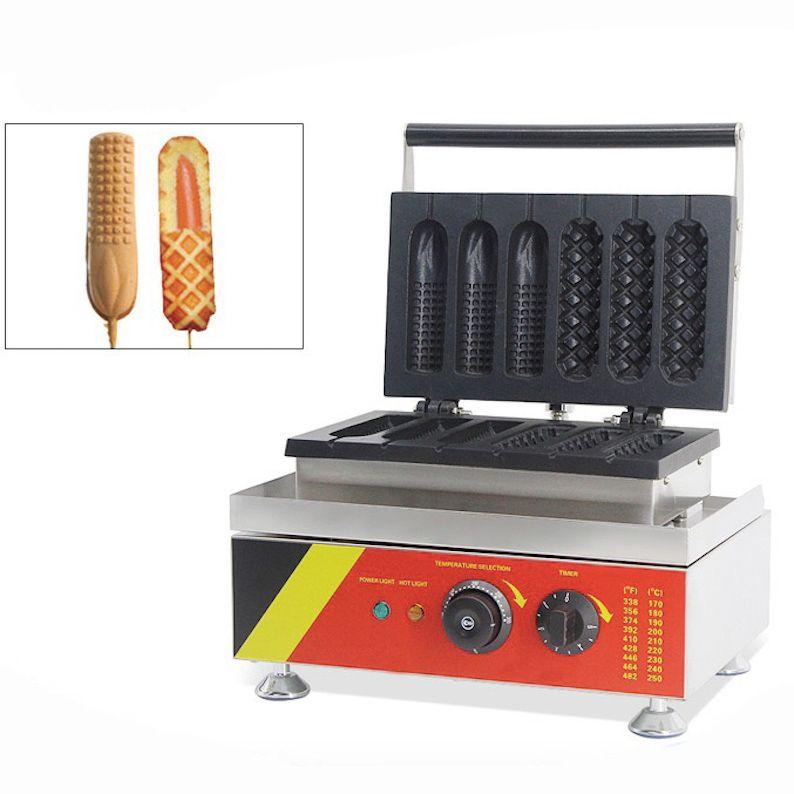 Ticari Waffle Sosisli Köpek Makinesi Fransız Muffin Sıcak Köpek Bar Makinesi Sosis Izgara Fırın Snack Ekipmanları
