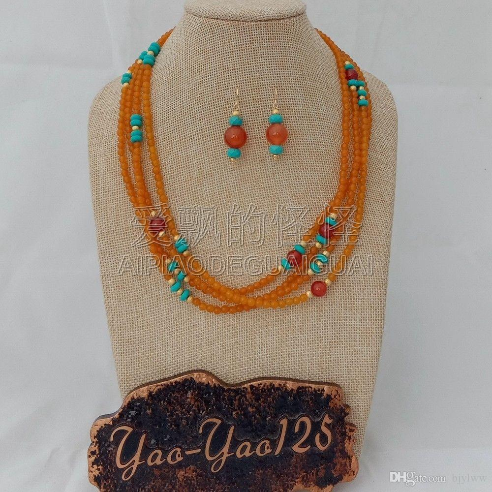 S011823 19'' 4 Strands Orange Gems Red Stone Necklace Earrings Sets