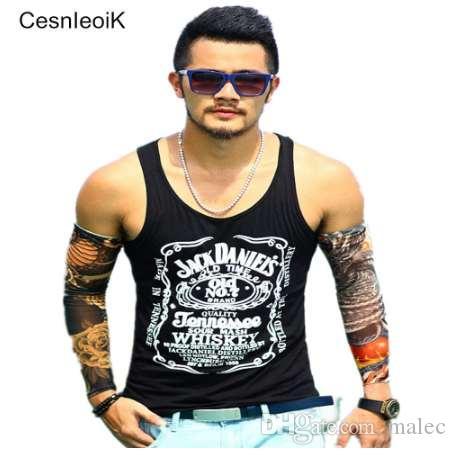 Tank Top Men Bodybuilding Ropa y Fitness Camisa sin mangas para hombre Chalecos de algodón Singlets Tops musculares # T02
