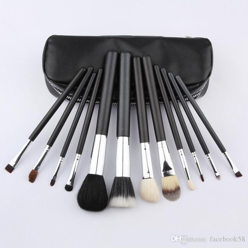 فرشاة المكياج حار بيع جديد 12pcs / set فرش ماكياج أسود المهنية مع أدوات الحقيبة الجلدية مستحضرات التجميل مجموعة الجمال