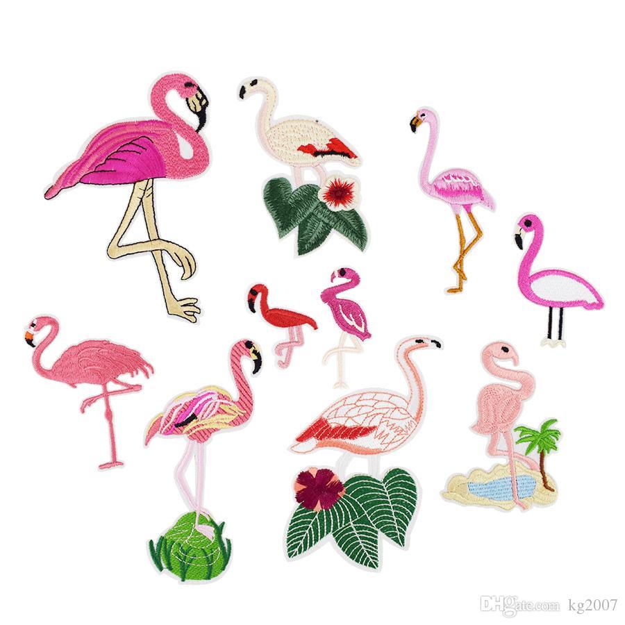 10pcs Flamingo İşlemeli Yamalar Nakış Çocuklar Etiketlere Elbise Jeans DIY Sew için Transferi Aplike Patch üzerinde Giyim Çanta Demir için